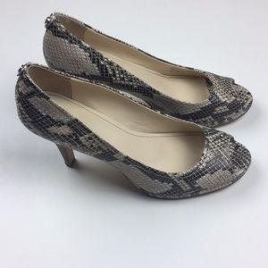 Calvin Klein Snake Skin Print Peep Toe Heels 9M
